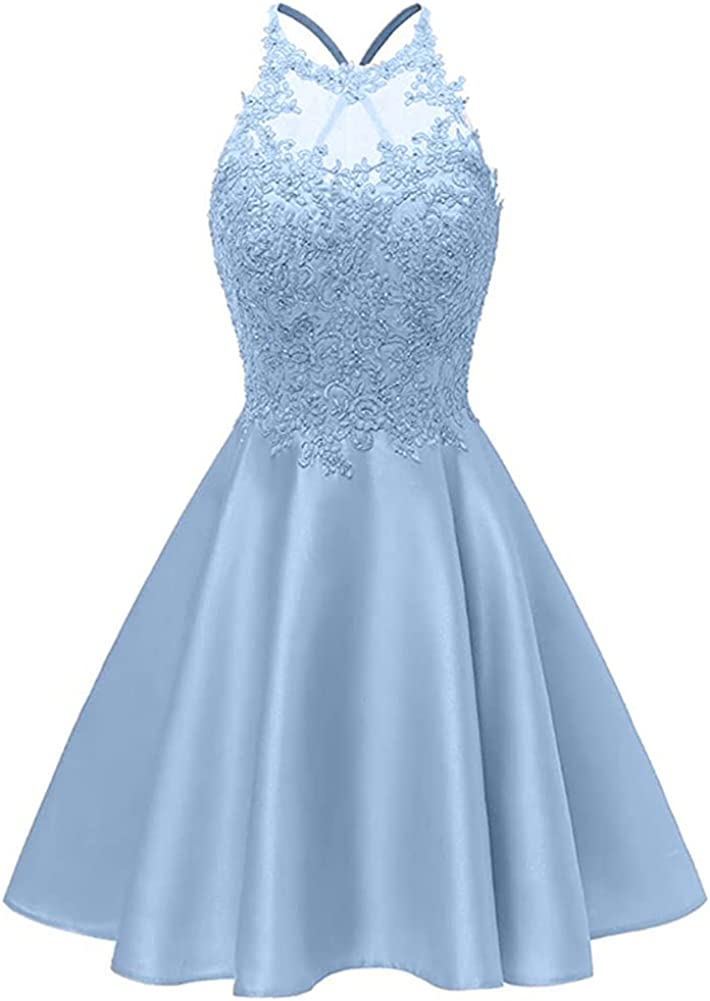 Snow Lotus Women's Prom Dresses Short Satin Homecoming Dress for Juniors A Line Party Cocktail Gowns