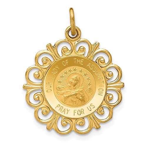 Colgante de medalla de la Virgen de la Asunción, oro amarillo de 14 quilates