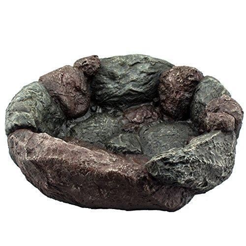 Intergarden Vogeltränke/Vogelbad Manukau Größe L - 34,2x30x10cm aus hochwertigem Polystone - Naturstein-Optik widerstandsfähig und naturgetreu