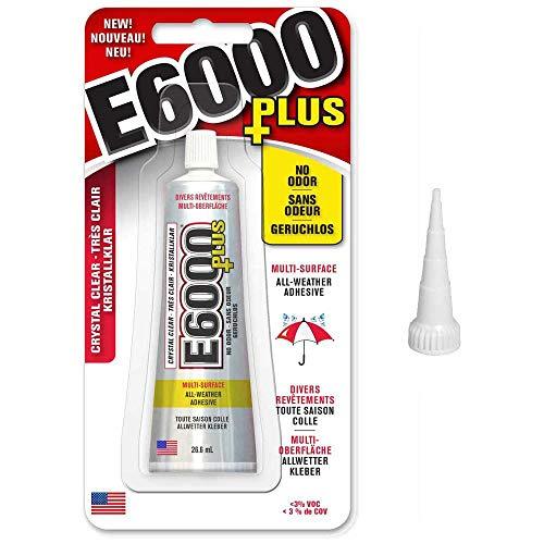 E6000 Plus Bastelkleber und originale schmale Spitze, Kleber für Holz, Schmuck, Glas, Edelsteine, Perlen 26.6ml