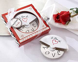 A Slice of Love Stainless-Steel Pizza Cutter in Miniature Pizza Box -48 count