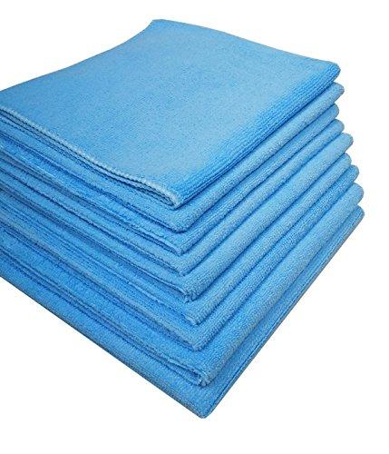 Damilo 9X Hochwertige Mikrofasertücher Poliertuch Putztuch Microfaser/geeignet für Haushalt, Industrie, Auto und Gewerbe / 40x40cm / Blau