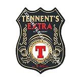 Tennent's Ultra Resistente Lager Birra pubblicità Bar Vecchio Pub Bevande Pompa Distintivo Brewery Botte Keg Draught Real Ale Pinta Alcool Luppolo Forma Metallo/Targa Da Parete In Acciaio - 27 x 20 cm