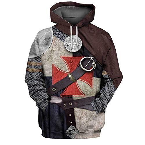 Sudadera con capucha para hombre, diseño de caballeros templarios con estampado 3D, cálida estilo hip hop, armadura medieval, cruzada, cruzada, con capucha