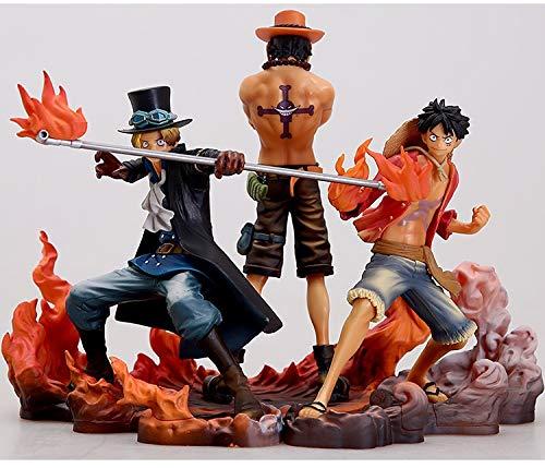 Figura de One Piece grupo de 3 Luffy Sabuo Ase Estatua de PVC Figura Figura de figuras en forma de personajes de One Piece