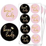 Boss Lady Stickers 1.5 inch, Pink and Black Boss Lady Decal Vinyl Stickers Labels for Businesses, Online retailers, boutiques,Gift Box Decorations Supplies (504 Pcs)
