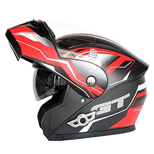 OOMEI Bluetooth Integrado Casco De Moto Modular con Doble Visera Cascos De Motocicleta ECE Homologado A Prueba De Viento para Adultos Hombres Mujeres Abatible Casco (Color : G, Size : L=59~60cm)