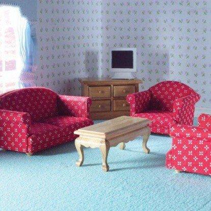 Casa delle bambole in miniatura scala 1:12th 5 pezzi set soggiorno