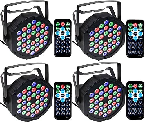 GUIDATO Par LUCI 3. 6W DJ. Luce del palcoscenico RGB 36 LED. con Controllo remoto attivato Audio DJ. UPlight for la Scena di Natale Bar da Matrimonio Festa del Club del Club (Color : 4pack)
