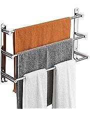SDWCWH Handdoekrek, badkamer, wandrek, handdoekhouder van aluminiumlegering, met 3 stangen en 2 haken, handdoekhouder, badkamer, zwart, voor badkamer, keuken, toilet, 60 cm