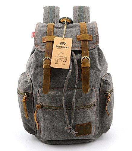 bluboon (TM) New Vintage Leinwand Rucksäcke Wandern Rucksäcke Casual Leinwand Taschen grau grau 1 Stpck