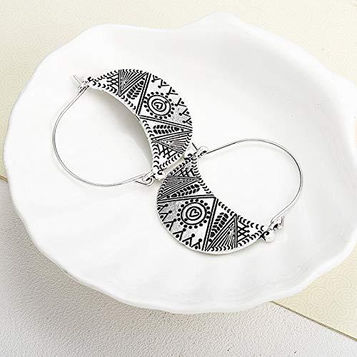 Burenqi Oorbel Antieke Zilver Geometrische Oorbellen Holle Oorbel Merk Hoop Oorbellen Voor Vrouwen Geschenken