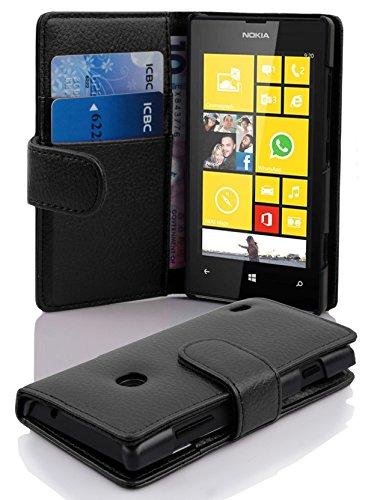Cadorabo Funda Libro para Nokia Lumia 520 en Negro ÓXIDO - Cubierta...