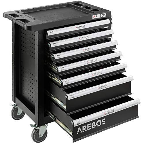 Werkzeugwagen gefüllt Werkzeugschrank Arebos (5 Schubladen)