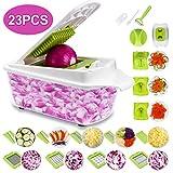 Sedhoom 23 in 1 Gemüseschneider, Zwiebel Zerkleiner, Edelstahl Klingen, Obst und Gemüseschneider Zwiebelschneider, Ideal zum Hobeln von Obst und Gemüse (MEHRWEG)