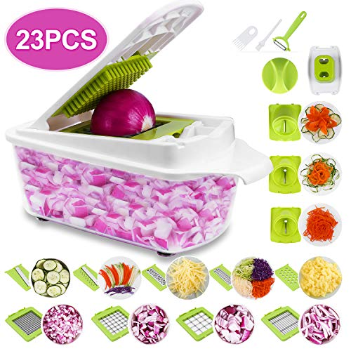 Sedhoom 23 in 1 Vegetable Chopper Food Chopper Onion Chopper Mandoline Slicer w/ Large Container,...