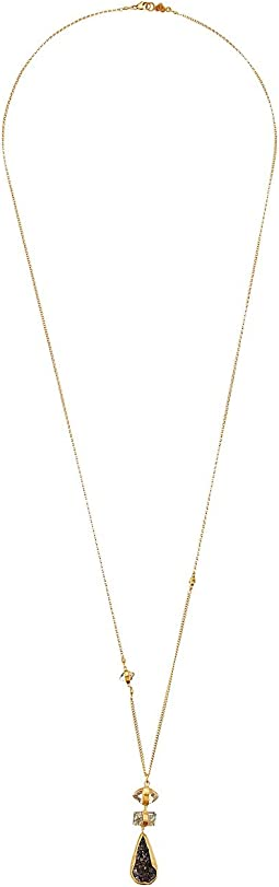 Chan Luu - 18k Gold Plated Sterling Silver Necklace w/ Marquise, Rectangle & Agate Semi Precious Stone