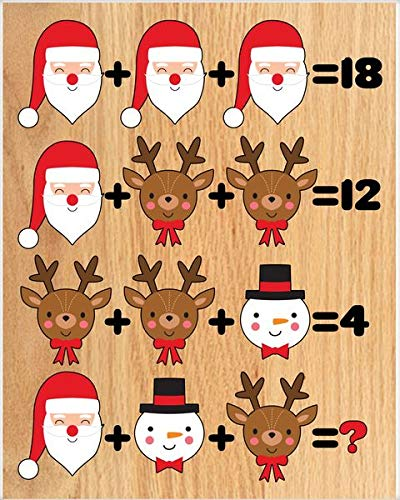 "2 PCS 8"" x 12""in Wood Sign-Christmas Math Quiz Poster (Little House In The Big Woods Quiz)"