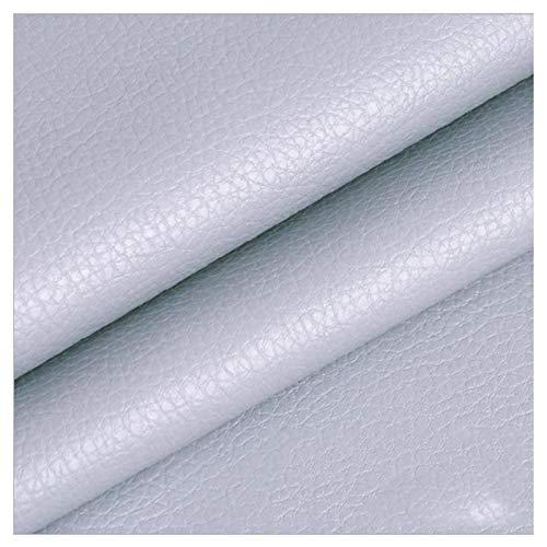 LILAMP Material Texturizado de Tapicería de Cuero Sintético Resistente de Tela de Piel Sintética - Gris Claro 1 Metro 100 Cm X 140 Cm(Size:1.4x1m)