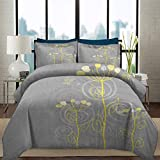 Bedding Duvet Cover Set Grey and Yellow Duvet Cover Set with Zipper Closure Under the Sea Inspired Flowers Abstract Swirls Backdrop Decorative 3 Piece Bedding Set with 2 Pillow Shams, Queen/King Size