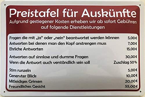Deko7 Blechschild 30 x 20 cm Informations Schild: Preistafel für Auskünfte