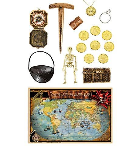 shoperama 17 accesorios de lujo pirata, cofre del tesoro, monedas, brjula, parche para los ojos, cadena, mapamundi y brjula, pendientes y esteleto