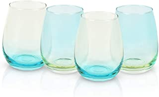 Set of 4 Colored Stemless Wine Glasses, Colorful Wine Glass Drinking Glasses Perfect for Red White Wine, Great Gifts for B...