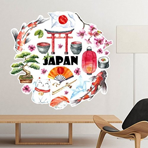Japan Cultuur Leuke Japanse Stijl Aquarel Nationale Vlag Lucky Kat Sakura Sushi Chopsticks Carp Archway Lantaarn Illustratie Verwijderbare Muursticker Art Decals Mural DIY Wallpaper voor Room Decal 25cm
