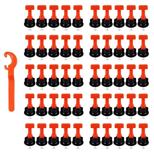 Kit de Sistema de Nivelacion de Azulejos,Nivelador de Azulejos Plegable,Nivelador Azulejos Reutilizables Herramienta DIY para Construcción de Paredes, Pisos, Con Llave Especial