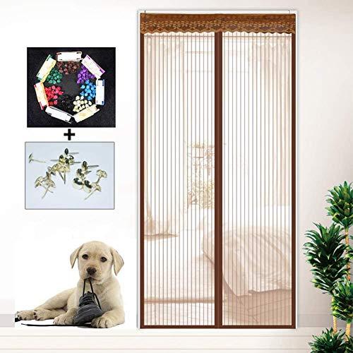 MXA hordeur, magnetisch, met gordijn van netstof, robuust, voor de zomer, vliegengaas, gordijn voor woonkamer, slaapkamer, bruin