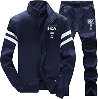 Men's Casual Sweat Suit Set Full Zip Tracksuit Jogging Running Sportswear