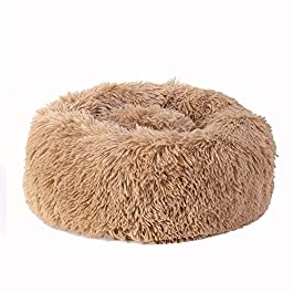 Bingopaw Plush Donut Pet Bed, Soft Washable Comfortable Pet Bed Sofa Round Nest Sleeping Cushions for Cats and Dogs