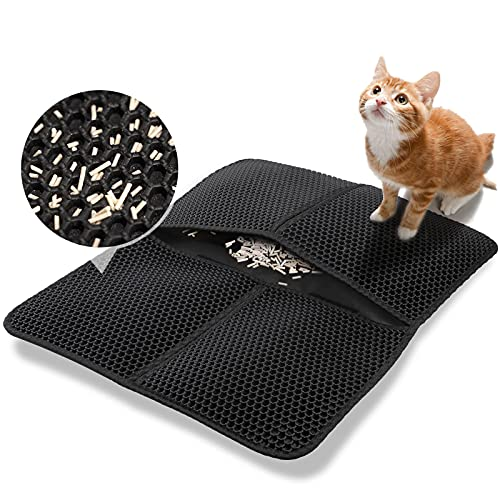 GeeRic Tapis de litière pour chat pliable, tapis de piégeage imperméable double couche noir, tapis de piège à litière pour chat de qualité supérieure, boîte à litière pour chat Dirt Catcher 45 * 30 CM