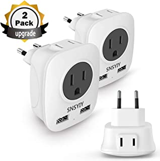 European Travel Plug Adapter, 4 in 1 International Power Plug with 2 USB, Outlet Adaptor Charger for US to Most of Europe EU Spain Iceland Italy France Germany(2-Pack for Europe)
