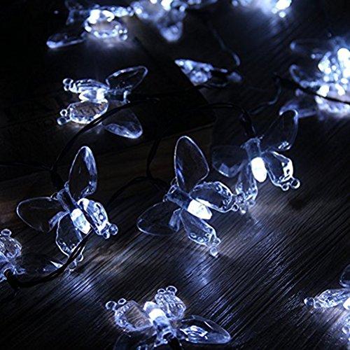 ledmomo Lichterkette Solar-Lichterkette außen wasserdicht 20LED Schmetterling Dekoration 4.5m weißes Licht frisch