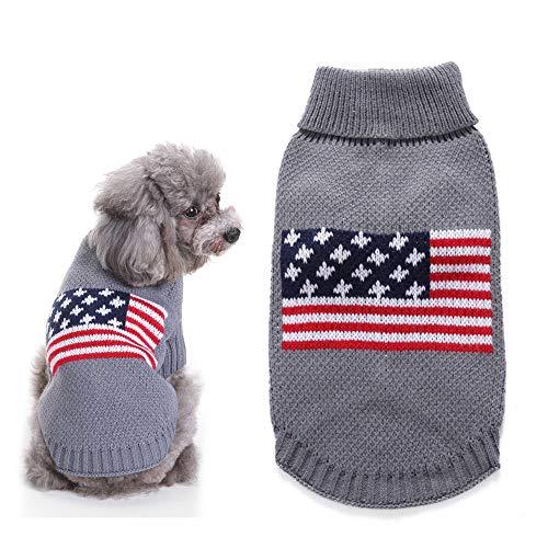 Hond Amerika vlag trui huisdier winter trui Puppy warme jas voor kleine tot grote honden, zachte stof gemakkelijk aan te trekken,Gray,M