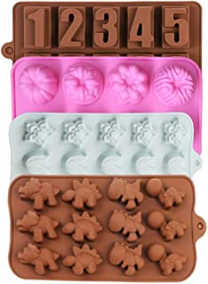 Cake Mould Bakeware Set Silicone Cake Pop Mold Chocolate Candy Molds Ice Cube Soap Mold with Flower Hearts Stars Dinosaurs Letters Design