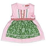 Eisenherz Mädchen Trachtenkleid Dirndl Baby Tracht mit angenähter Schürze rosa/grün in Größe 86/92