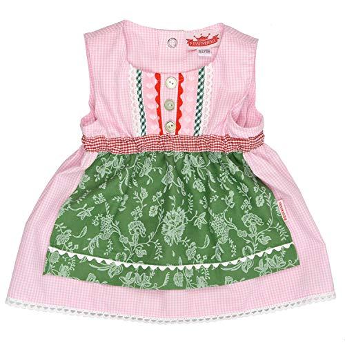 Eisenherz Mädchen Trachtenkleid Dirndl Baby Tracht mit angenähter Schürze rosa/grün in Größe 62/68
