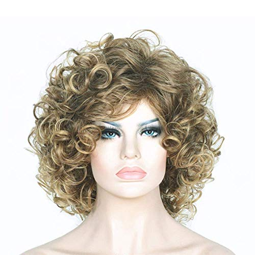 Hairpieces Girls Sweet Fashion Gold Brown Short Curly Hair Foreign Trade Original Single Selling European and American Fashion Wig A
