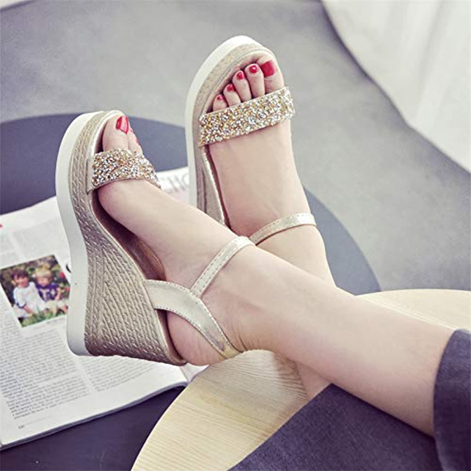 High Heels Sandals Women Shinning Glitter Silver gold Platform Wedges Summer Ladies Open Toe Casual shoes Pumps hot,gold,US7.5
