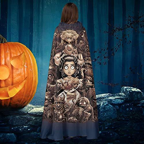 AISFGBJ Labyrinth Trece Horas Tim Burton Unisex Navidad Halloween Bruja Caballero con Capucha, Capa de Vampiros, Capa Cosplay Disfraz