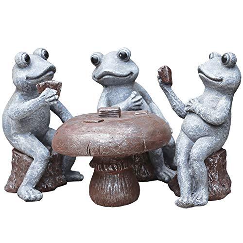 Estatua de jardín ornamento al aire libre 4 piezas de hadas jardín ornamento mesa y 3 ranas jugando tarjetas micro paisaje decoración esperanza disfrutar de la paz manualidades mejor regalo