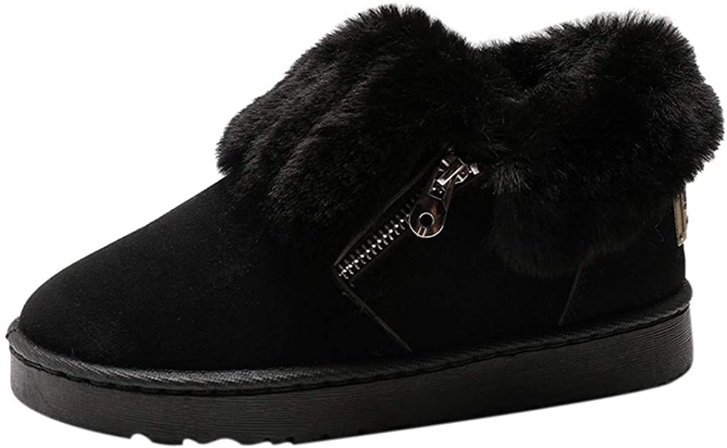 Women's Winter Short Snow Boots Fleece Lined Warm Slip-on Walking Shoes Flat Thickened Cotton Booties