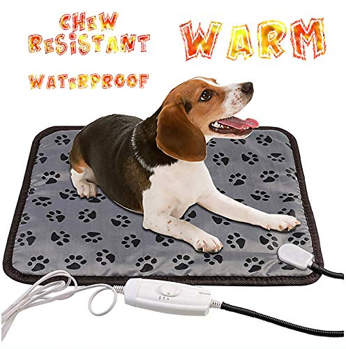 wangstar Pet Heat Pad Mat 20''x15''Indoors Warm Electric Heating Pad for Puppy Small Dogs Cats Waterproof Chew Resistant Temperature Adjustable Pet Heat Mat