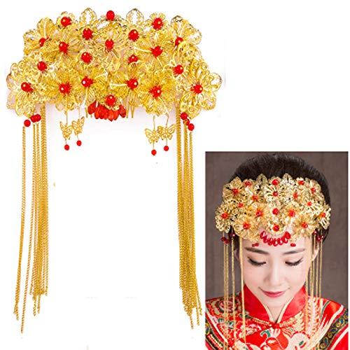 JUNGEN Couronne de mariage de style rétro chinois Accessoires de cheveux de mariée Coiffe de mariée vintage chinoise traditionnelle