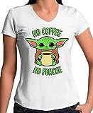 Mx Games Camiseta Baby Yoda DE Mujer - No Coffee No Force (Talla S)