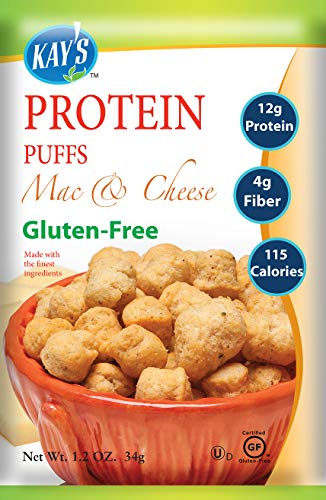 Kay's Naturals Protein Puffs, Veggie Pizza, Gluten-Free, Low Fat, Diabetes Friendly, All Natural Flavorings, 1.2 Ounce (Pack of 6)