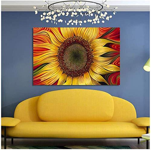 A&D Moderne Blumen Poster und Drucke Wandkunst Leinwand Malerei Goldgelbe Sonnenblumenbilder für Wohnzimmer Wohnkultur -60x90cmx1pcs- Kein Rahmen