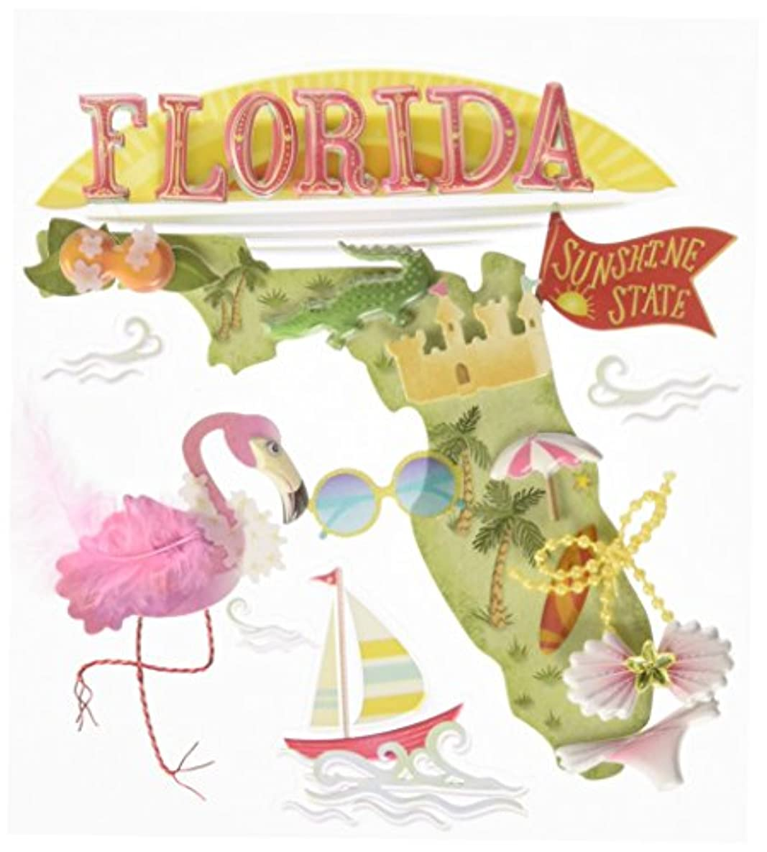 JOLEES 50-21860 Boutique Dimensional Stickers, Florida, Multicolor